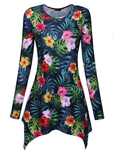 Acloth Tunic Shirts for Women Boutique Clothing Casual Long Sleeve Office Wear Knit Floral Print Tunic Blouses High Low Irregular Hem Trendy Swing Asymmetrical Flowy Fall Tops Green XXL