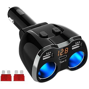 GemCoo USB Tipo C Cargador de Coche Encendedor de Cigarrillos 80W, 12V/24V Adaptador de Corriente de Coche con Dos Puertos de Carga USB para GPS, ...
