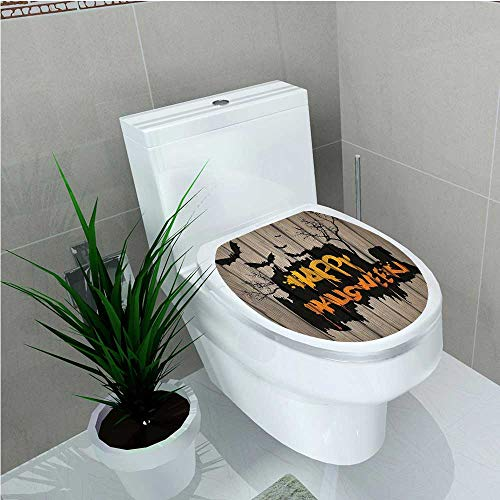 aolankaili Bathroom Toilet Happy Halloween Graffiti Style Lettering on Rustic Wooden Fence Scary Evil Effect Art W11 x L13 -
