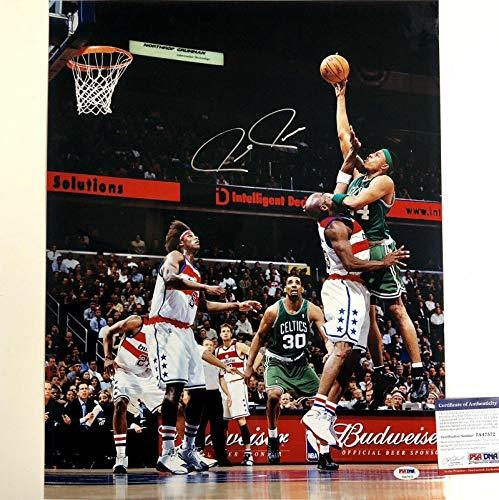 PAUL PIERCE Signed CELTICS 16x20 Photo vs. Michael Jordan w/Witness COA - PSA/DNA Certified - Autographed NBA Photos
