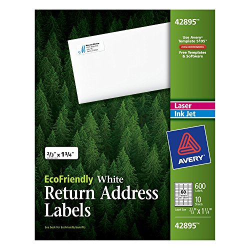 - Avery Return Address Labels, White, 0.66 x 1.75 inches, Pack of 600 (42895)