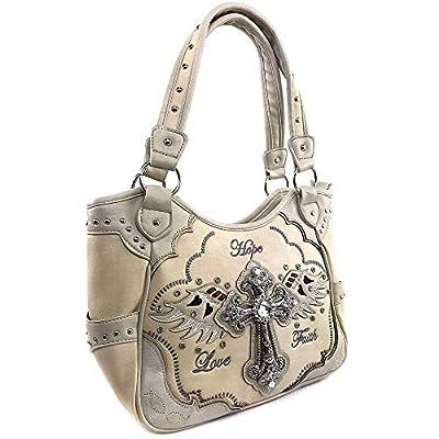 Justin West Western Floral Wing Embroidery Laser Cut Rhinestone Silver Cross Studded Shoulder Tote Handbag Purse Wallet