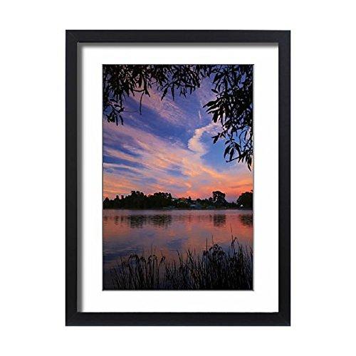 Framed 24x18 Print of Sunrise over Lake Rotoroa, Hamilton, Waikato, North Island (12618325) - Hamilton Island Light