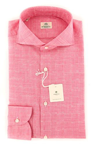 new-luigi-borrelli-pink-plaid-extra-slim-shirt