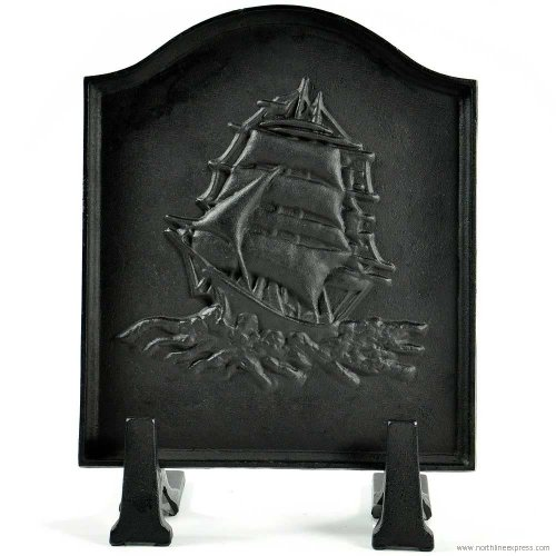 Black Cast Iron Ship Fireback - 16 x 17.5 inch by Dagan Industries, Inc