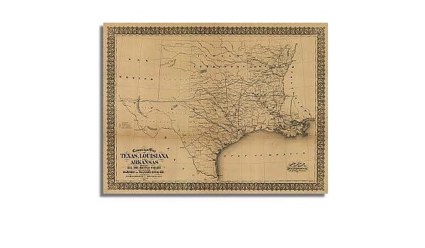 Amazon Com Campaign Map Of Texas Louisiana And Arkansas 1871