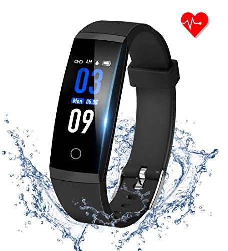 GOOPOW Fitness Tracker HR, Activity Tracker Watch with Heart Rate Monitor, Waterproof Smart Fitness Band with Step Counter, Calorie Counter, Pedometer Watch for Kids Women and Men