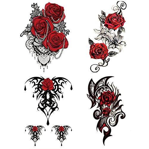 Yesallwas 4 Sheets Large Temporary Tattoo Sticker Fake Tattoos for Women Girls Models,Waterproof Long Lasting Body Art Makeup Sexy Realistic Arm Tattoos -Rose, Flowers,Jewelry 5.9×8.26inche (A)