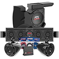Polaris RZR 1000 (Checked For Fit On These UTV's roll cages) Bluetooth Overhead Audio Sound Bar, 2-Channel Amplifier, 2 Cage Mounted Speakers, And Amplified Subwoofer RZRBOAKIT3