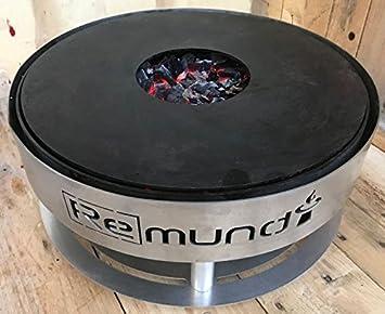 Remundi Barbacoa portatil de Carbón y Plancha de sobremesa de Acero 100% Inoxidable Grill Pirus