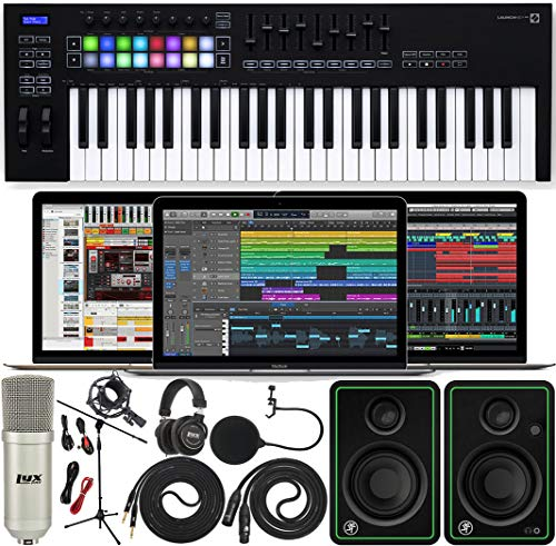 Novation Launchkey 49 MK3 USB MIDI Keyboard 49 Keys Controller with Software Pack of Ableton Live Lite and 4 GB of Loopmasters Sounds & Samples w/Mackie CR3-X Pair Studio Monitors & Instrument Cables