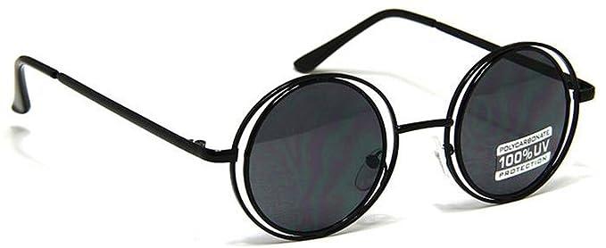 Amazon.com: Doble círculo Marco Redondo anteojos de sol Thin ...