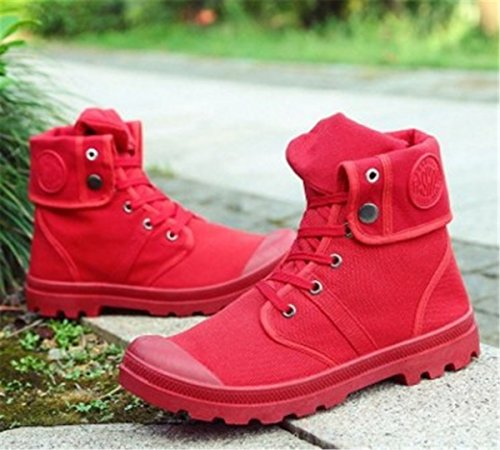 BININBOX Mens Casual Sneakers High-Top Breathable Athletic Sports Board Shoes Comfortable Running Canvas Red ireWUdJYln