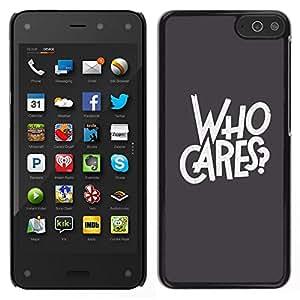 Caucho caso de Shell duro de la cubierta de accesorios de protección BY RAYDREAMMM - Amazon Fire Phone - A quién le importa gris del texto Rebel Goth