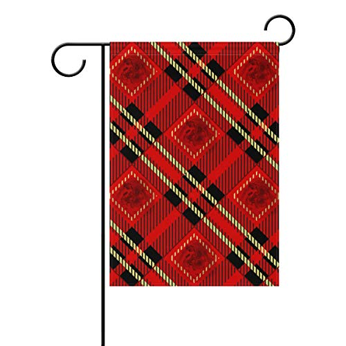 WIHVE Polyester Garden Flag, Red Black and Gold Rose Tartan Plaid Double Sided Holiday Flag for Party Home Outdoor Decoration 28 x 40 Inches