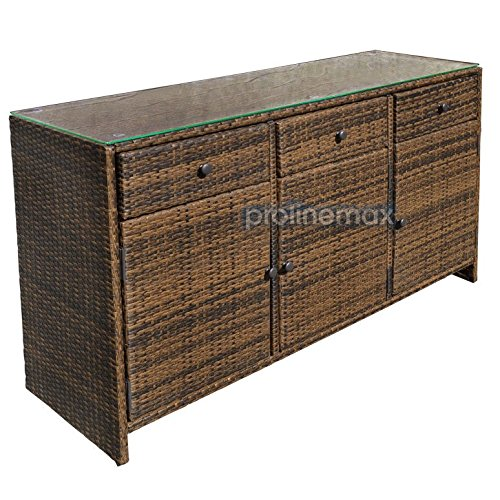 Espresso 3 Drawers Wicker Rattan Buffet Serving Cabinet