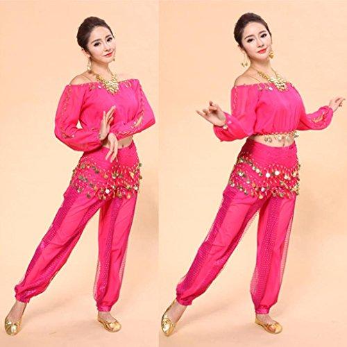 Femmes Lookatool Costumes De Danse Du Ventre Mis En Vêtements Robe De Danse Indienne Pantalon Top Rose Chaud