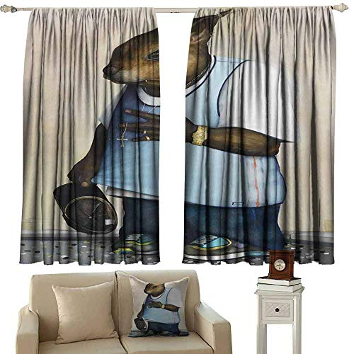 Mannwarehouse Noise Reduction Curtain Strange Animal with a Gold Watch Holding a hat for Living, Dining, Bedroom (Pair) 55