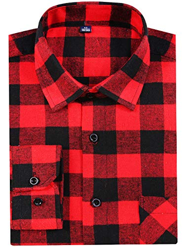 DOKKIA Men's Button Down Buffalo Plaid Checked Long Sleeve Flannel Shirts (Red Black Buffalo, X-Large)