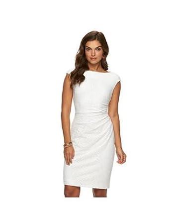 3e9557a1 Chaps Womens Crochet Pleated Sheath Dress, Cream, Size 10 at Amazon Women's  Clothing store: