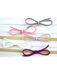 Baby Wisp Headband 5 Pack Ultra Skinny Faux Suede Bows Giftset, White, 3-12 Months