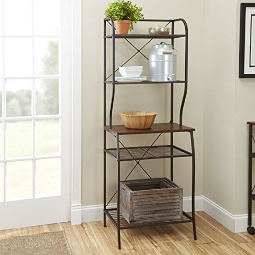 Mahogany Finish 5 shelves Wood and Metal Material Baker's Rack