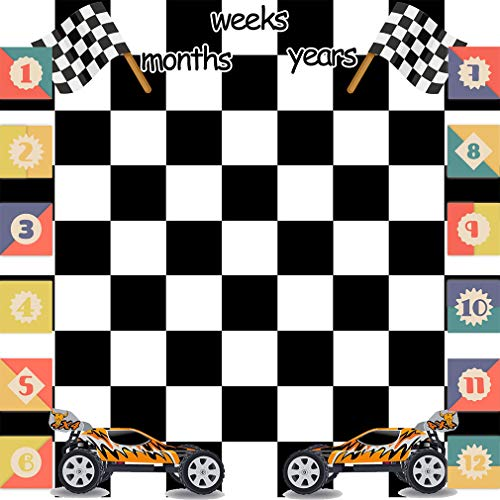 - Growing Gifts 40x40in Baby Monthly Milestone Blanket Racing Cars White Black Square Photography Backgrounds Baby Boys Months Weeks Birthday Celebration Photo Shooting Props LHFS178