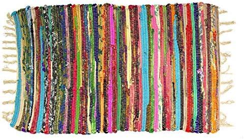 Homevibes Alfombra Multicolor Chindi con Pelo Largo, Estilo Hindu, Alfombra 100% Algodon, Tejida A Mano, Medidas 50x80 / 60x90 cm, Alfombra de Comedor, Alfombra Multicolor con Flecos (60x90cm): Amazon.es: Hogar