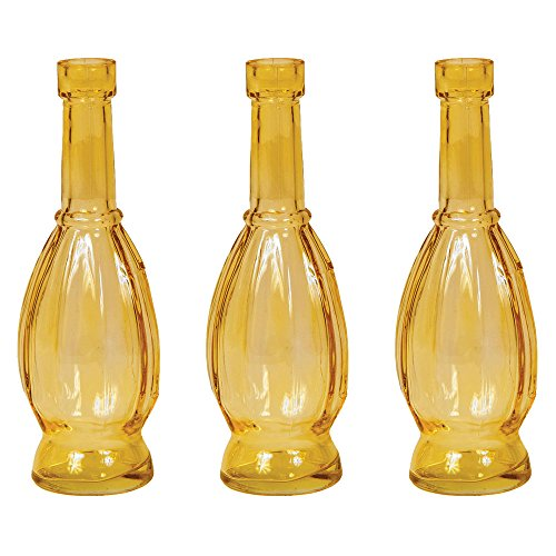 Luna Bazaar Small Vintage Glass Bottle (7-Inch, Vera Bulb Design, Amber, Set of 3) - Flower Bud Vase - For Home Decor, Party Decorations, and Wedding Centerpieces