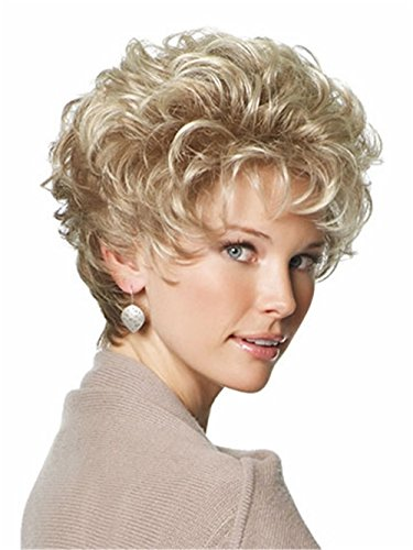 Women Wigs Ashy Blonde Short Curly Natural Heat Resistant Synthetic Hair Wigs 8 Inch ()