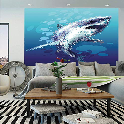 Droplet Figure - SoSung Sea Animal Decor Wall Mural,Digital Made Psychedelic Shark Figure with Droplets Scary Atlantic Beast,Self-Adhesive Large Wallpaper for Home Decor 83x120 inches,Blue Grey
