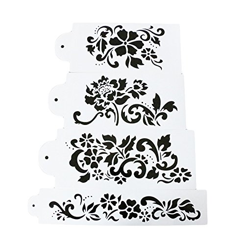 - COOKNBAKE Lace Flower Cake Decorating Stencil Fondant Side Baking Tool Carved Classic Fondant Mold Imprint Mat Wedding cake Stencil Set of 4