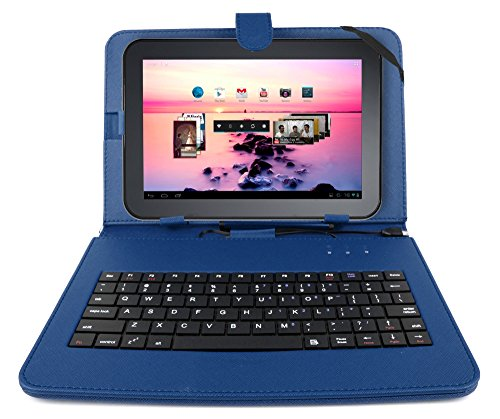 DURAGADGET Durable Blue Faux-Leather Protective Case/Cover with Micro USB Keyboard & Built in Stand for Toshiba AT300SE / AT300-101 / AT300SE-101 & AT200 Tablet PC+ Bonus Micro USB OTG Adapter (Toshiba At300 Keyboard)