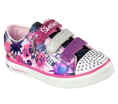 Skechers Little Kid (4-8 Years) Twinkle Toes: Chit Chat-Prolifics Pink/Navy Light-Up Sneaker - 11 M US Little Kid