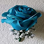 Teal-Rhinestone-Rose-Bridal-Wedding-Bouquet-Boutonniere
