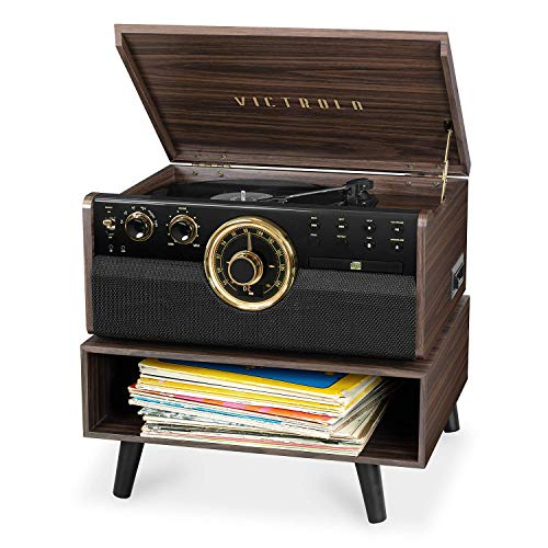 Victrola 6-in-1 Wood Bluetooth Mid Century Record Player with 3-Speed Turntable, CD, Cassette Player and Radio with Storage Stand (Renewed)