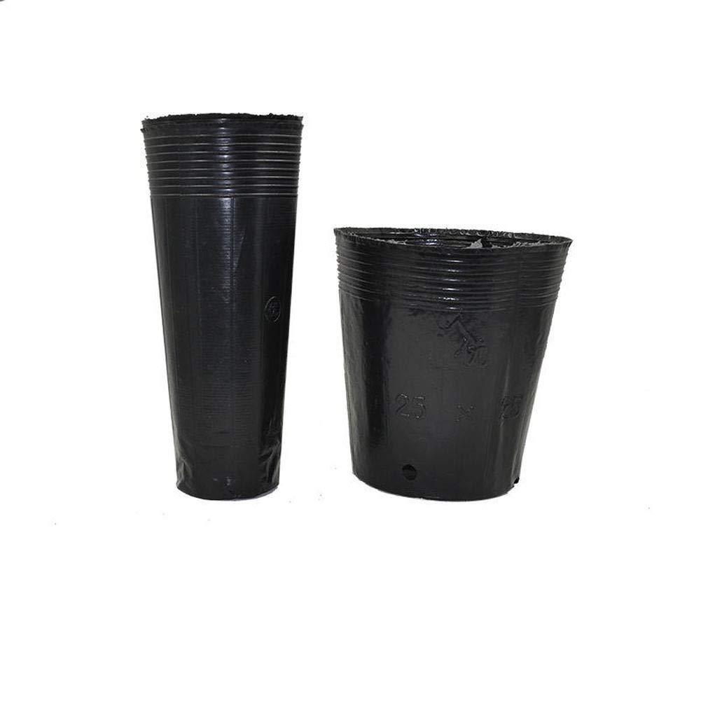 Sacchetti per piante – 50 pezzi in plastica nera vasi per piante, sacchetto ispessito per piantine, coppe nutrizionali, vaso per piantine, 45 cm x 45 cm