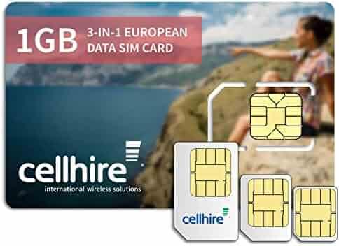 Cellhire Prepaid 4G Europe Data SIM Card - Europe 1GB Bundle - 33 Countries - 3-in-1 SIM