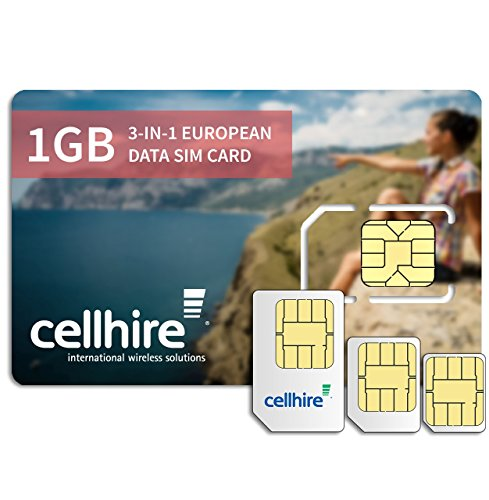 Cellhire Prepaid 4G Europe Data SIM Card - Europe 1GB Bundle - 33 Countries ...