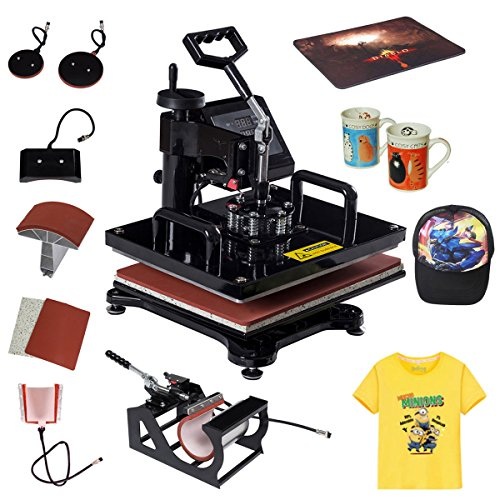 Tangkula 6 in 1 Heat Press Machine Digital Transfer Sublimation T-Shirt Mug Hat Plate Cap by Tangkula