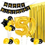 MeiHoyo 50th Birthday Decorations Happy Birthday Banner Party Kit Pack B-Day Celebration Supplies with Gold and Black Stars Balloons and Golden Fringe Curtain (50th)