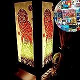 Red & Green Owl Bird of Night Prey Handmade Asian Oriental Wood Table Paper Gift Bedside Night Light Bulbs Bedroom Accessories Home Decor Living Room Bedside Homemade Art Garden Outdoor Floor Japanese Modern Vintage Christmas Desk Lamp; Free Adapter; Us 2