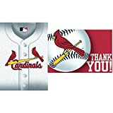 """Sports and Tailgating MLB Party St. Louis Cardinals Invitation & Thank You Card Set, Paper, 3"""" x 5"""", Pack of 16"""