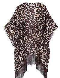 soul young Women's Floral Light Chiffon Beachwear Cover up Kimono Cardigan