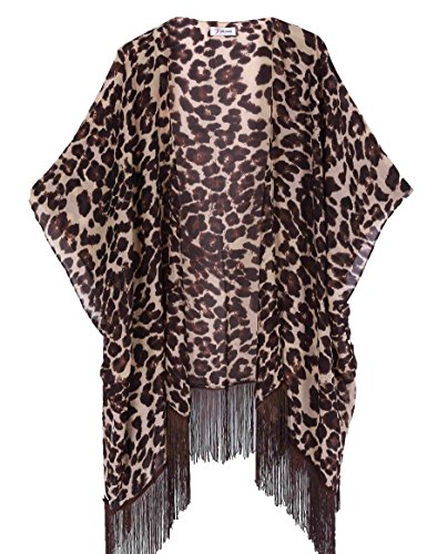 Women's Floral Kimono Cover Up - Lightweight Leopard Chiffon Beachwear for Bikini,Cardigan and Swimwear(One Size,Leopard)