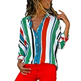 vermers Clearance Women Button Up Shirt - Womens Casual Long Sleeve Blouse Color Block Striped Tops(S, Multicolor)