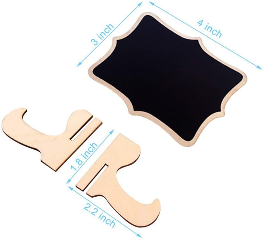 Garneck 10pcs Mini Chalkboard Signs with Easel Stand Wooden Blackboard Place Cards Message Board for Wedding Birthday Event Party Decoration