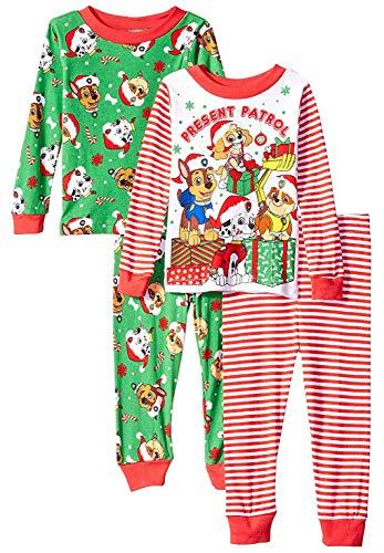 Nickelodeon Boys' Toddler Paw Patrol Holiday 4-Piece Cotton Pajama Set, Present, 4T