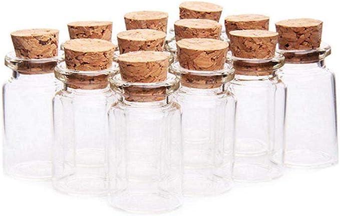Fiesta Cotigo– 24 Piezas Mini Frascos con Tapones de Corcho, Pequeña Tarros de Vidrio,Bote de cristal para aromas,especias,boda,comunión,mensaje,recuerdo de fiesta (22mm x 40mm, 7ml): Amazon.es: Hogar