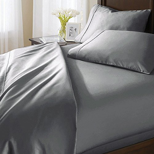 "Louis Ultra Soft 100% Plush Egyptian Cotton 1000 TC Sheet Set, Lavish Italian Solid fits mattresses up to 21"" deep Pattern - Solid, Color - Silver Grey, Size - King."